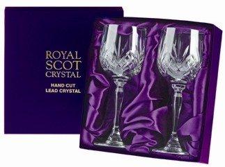 2 verres à vin en cristal Royal Scot – Highland – Boîte de Présentation