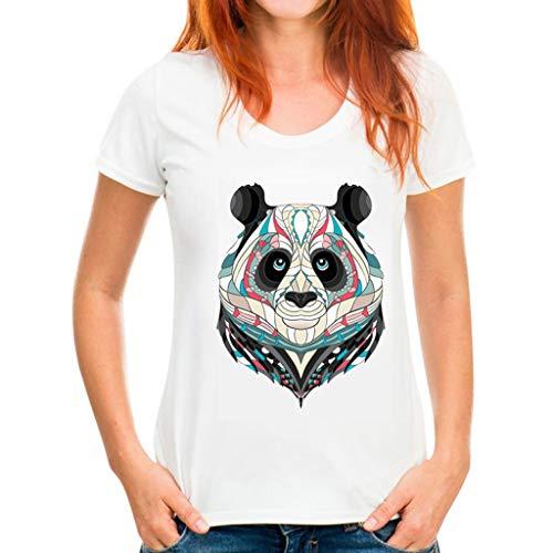 Basic Sommer T-Shirt Damen Heritage Crew Neck Kung Fu Panda Drucken Women Bluse Slim Fit Turnup-Ärmeln Einfacher Stil Mode Tunika Top