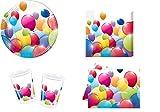 Mgs33 Geburtstagskarte, Flying Ballons, 8 Stück, Komplettset (8 Teller, 8 Becher, 20 Servietten, 1 Tischdecke, Unisex)