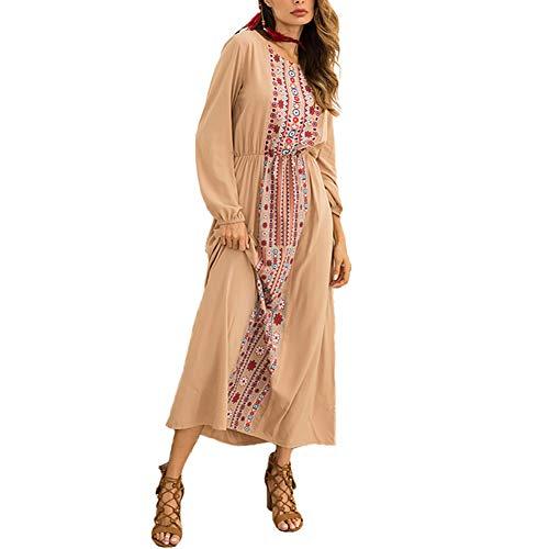 XIGUAK Frauen Rundhals Boho Langes Kleid Sommer Langarm Hohe Taille Print Floral Casual Beach Party Kleider -