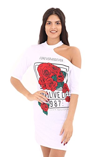 Fashion Essential-Ladies Live Life Roses cuisse garniture Coupe épaule top white