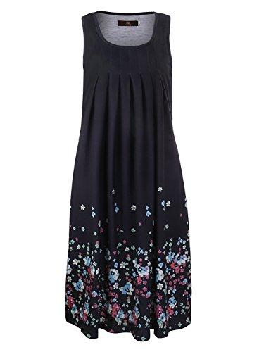 ISASSY Damen Sommerkleid Knielang Ärmellos Rundkragen Strandkleid Abendkleid A-Linie Kleid Schwarz