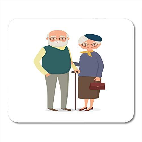 Luancrop Mauspads Ehemann-alte ältere Paare mit dem Glas-Händchenhalten in der Karikatur-Art-Frauen-Frau Mouse Pad für Notizbücher, Tischrechner-Mausunterlagen, Büroartikel