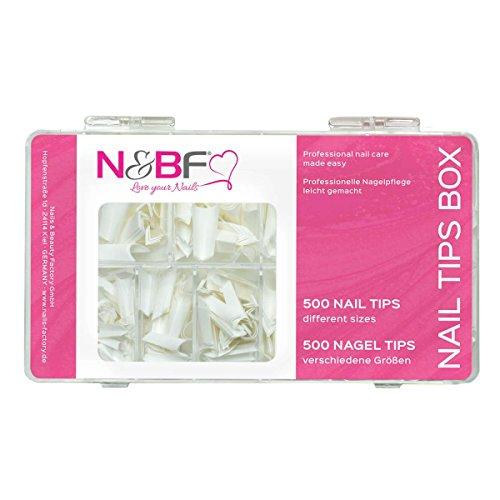 N & BF Edge Lot de 500 tips Blanc Boîte de rangement pour Kit ongles & vernis – ongles Décorations ongles & Design Accessories Nail Art Ongles Tips Nail Extension 10 tailles pour votre design
