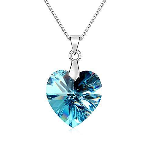 Blu ciondolo a cuore con Swarovski Elements cristallo, Compleanno San Valentino Natale Festa della mamma regalo