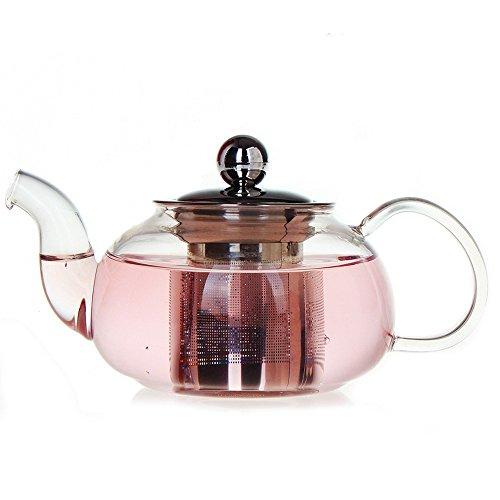 Tamume 1l teiera vetro con filtro acciaio inossidabile e cap in acciaio inox con design aggiornato e ispessite teiera con infusore