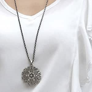 Lingstar(TM) Full drill Hollow flower, sweater chain diamond necklace Xmas