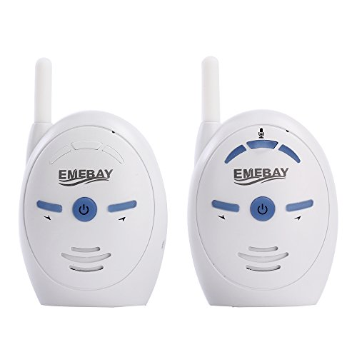 EMEBAY - Classique Ecoute-bébé Audio Digital Micro Blanc, Fontionne avec Piles(Non incluses) OU Secteur - Communiquez dans les deux sens.