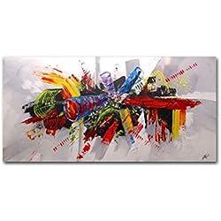 Omgo - Cuadro pintado a mano, pinturas al óleo sobre lienzo para decoración de pared, pintura decorativa imagen moderna, 60x 120cm sin marco