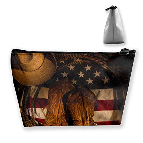 Western Hat Decor American Flag with Cowboy Boots Rope Waterproof Trapezoidal Bag Cosmetic Bags Makeup Bag Large Travel Toiletry Pouch Portable Storage Pencil Holders