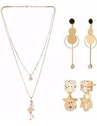 Efulgenz Jewellery Combo Of Trendy Stylish Fancy Party Wear Statement Necklace & Dangler Earrings For Girls &...