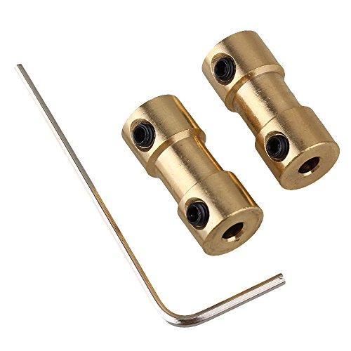 BQLZR Goldene 3 x 3 mm Wellenkupplung Motor-Anschluss Messing Joint Fuer RC mit Schrauben 2 Stueck