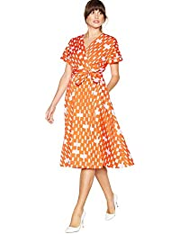 677dbba8f1c4 Debenhams J by Jasper Conran Multicoloured Weave Print Cotton Knee Length  Wrap Dress 14