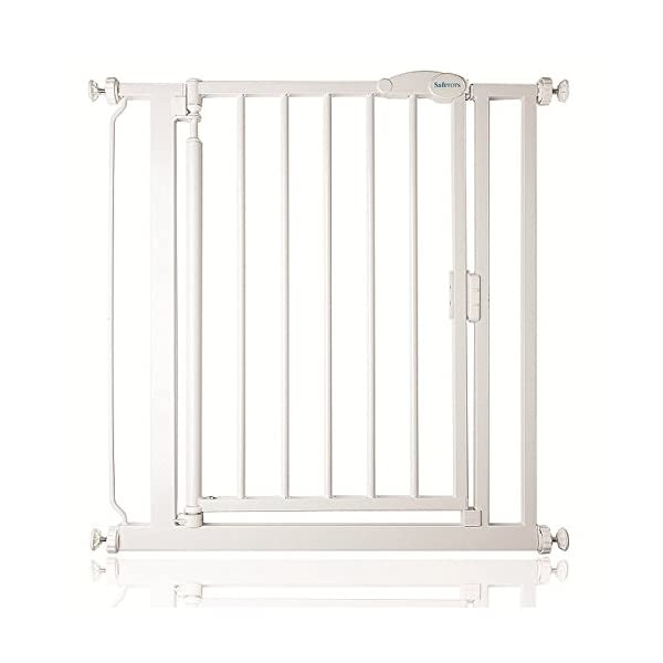 Safetots Pressure Fit Self Closing Gate, 75-82 cm Safetots Self closing - gate closes slowly behind you Two way opening (widget on bottom bar can be adjusted to set gate opening towards or from user) Height: 75.5cm 1