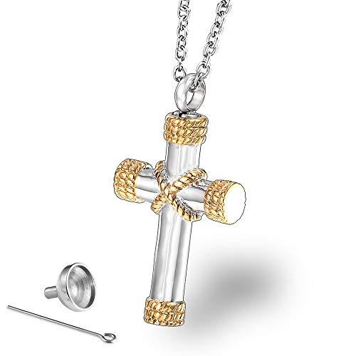 GuoYq Edelstahl kann mit Asche, Vintage Seil Kreuz Halskette, Tierliebhaber, Lieben, Souvenirs, Trauer Anhänger Schmuck Asche gefüllt Werden (Trauer Schmuck)