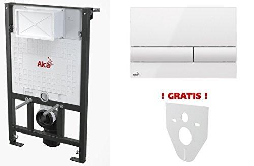 WC Vorwandelement für Trockenbau 120 cm inklusive Betätigungsplatte Weiss/ Weiss Unterputzspülkasten Spülkasten Wand WC hängend Schallschutz