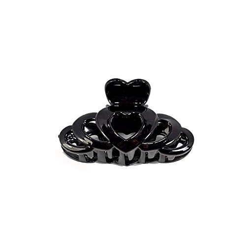 Pince Crabe A Cheveux - Plastique 9 cm - Noir Laque Brillant - Coeur - Accessoire Coiffure