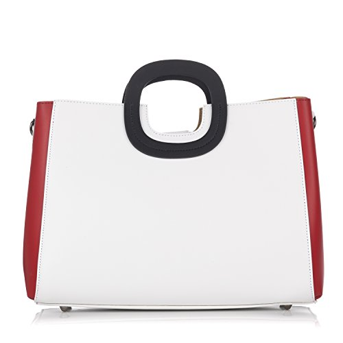Laura Moretti - Borsa in pelle Bicolor con borsa interna estraibile White - Red
