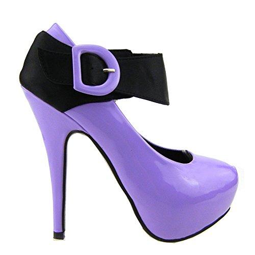 Show scarpe della pompa della piattaforma Story nuove signore di brevetto in raso nero con cinghietti, LF30405 Viola