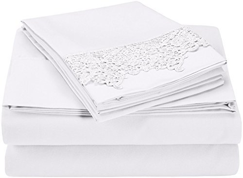 Super Soft Light Weight, 100% Brushed Microfiber, Twin XL, Wrinkle Resistant, White 3-Piece Sheet Set with Regal Lace Pillowcases in Gift Box by Luxor Treasures