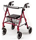 Lightweight Aluminium Folding 4 Wheel Rollator / Zimmer / Walking Aid with Basket and Brakes. (Ruby Red)