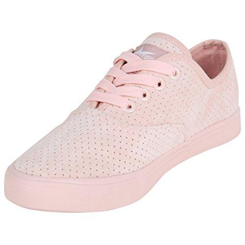 Damen Sneakers Stoff Sneaker Low Muster Basic Schuhe Animal Print Freizeit Turnschuhe Schnürer Flandell Rosa Brooklyn