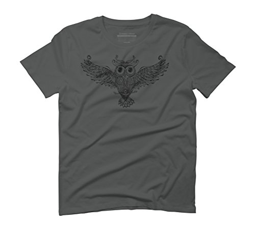 Owl Trace B&W Men's Graphic T-Shirt - Design By Humans Anthracite