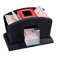 Relaxdays Leather Shuffling Machine for 4 Decks, Professional Card Shuffler, Electric, Black, 16 x 23.5 x 13.5 cm