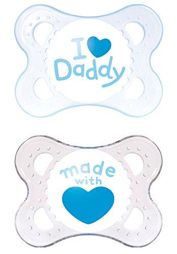 Preisvergleich Produktbild MAM Babyartikel 67631400 Original Silikon I love Daddy, boy, 0 - 6 Monate, Doppelpack, Sortiert