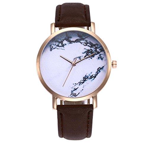 Preisvergleich Produktbild Armbanduhr Damen, erthome Luxus Elegant Lederband Uhren Analog Quarz Runde Armbanduhr für Damen Mädchen, Geschenk Uhren (Kaffee)