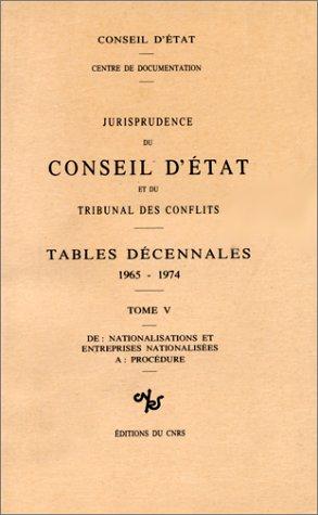 Jurisprudence du Conseil d'Etat, numéro 5 : Tables décennales, 1965/1974. De «nationalisations et entreprises nationalisées» à «procédure» par Collectif