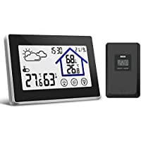 Yuanguo Wireless Weather Station with Outdoor Sensor, Outdoor Indoor Temperature Thermometer Gauge, Digital Thermo-hygrometer Humidity Monitor with Large LCD, Time Clock with Touch Screen