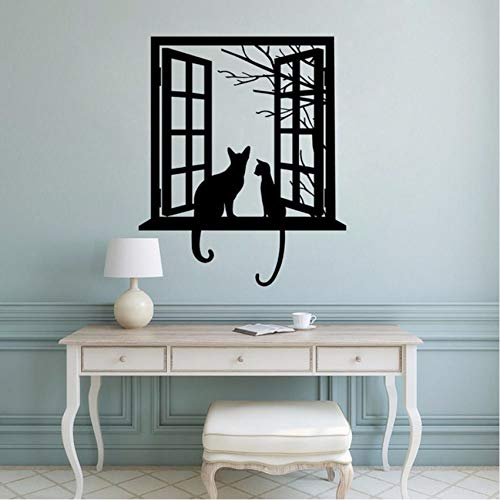 (Fushoulu 42X51 Cm Vinyl Wandtattoo Katzen Tiere Wandaufkleber Katzen Durch Fenster Silhouette Wandkunst Wandbilder Removable Home Decor)