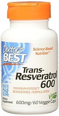 Doctor's Best Trans-Resveratrol 600, 600mg 60 Vegetarian Capsules