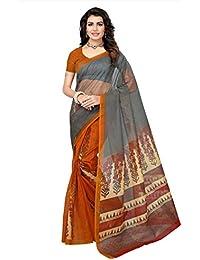 Fab Women Net Saree with Blouse Piece (Fab1495_Grey_Free Size)