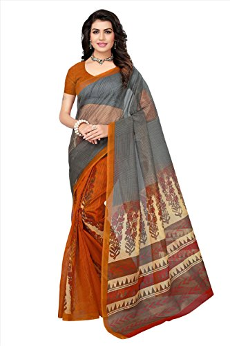 Fabwomen Women's Net Printed Saree with Blouse Piece (Orange and Grey_Free Size)