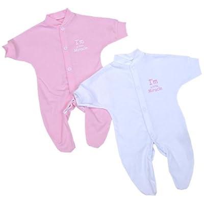 BabyPrem Bebé Prematuro Conjunto 2 Pijama Mameluco 'Soy un pequeño milagro' Ropa Niñas 32-38cm ROSA
