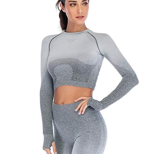 Lange Rippe Stricken Tanks (Nue Damen Sport Yoga Langarm, Frauen Fitness Workout Mode Ombre Tops T-Shirt Sport T-Shirt Tunika)