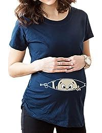 Ninimour Camiseta simple de cuello redondo con impresión para premamá