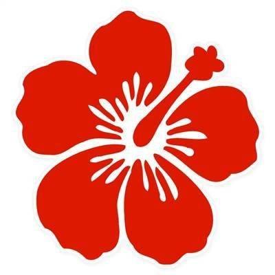 Hibiscus Flower Tattoos (Aufkleber / Autoaufkleber / JDM Die Hart - Hibiscus Red Flower Bumper Sticker hawaii 101mmx101mm)