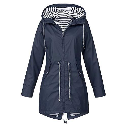 Hanomes Damen pullover, Woemn's Solid Regenjacke Outdoor Jacken Wasserdicht mit Kapuze Regenmantel Winddicht