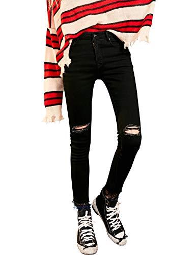 Elf sack donna jeans attillati a vita alta ginocchio strappato orlo in pizzo allungare pantaloni di denim nero xl
