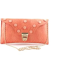 Regalia Peach Color Party Wear Sling Bag For Women And Girls