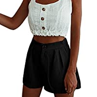 Btruely Ladies Shorts High Waist Wide Leg Pants Bermuda with Pockets Casual Comfy Beach Hot Shorts Bottoms Solid Color Fashion Summer Holiday Office Wear Black