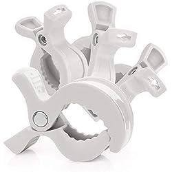 RUBY - 4 Pinzas carrito bebe, clips para asientos de coche o mantas, ganchos para cochecito LAT clips para muselina y juguetes, (Gris Pastel, 4 Pcs)