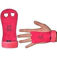 Shiled Sports - Protectores de palma de mano de gimnasia para niños, guantes de piel con relieve para dominadas, Crossfit, pesas rusas. Palma, color rosa, tamaño Small