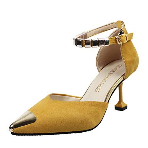 Zarupeng sandali Scarpe estive, Donna con Zeppa Eleganti, Sandali Donna Sandalo Sandali Punta Aperta, Tacchi Tacco Sottile,Scarpe da Spiaggia Scarpe Flat Sandali(Giallo,38 EU)