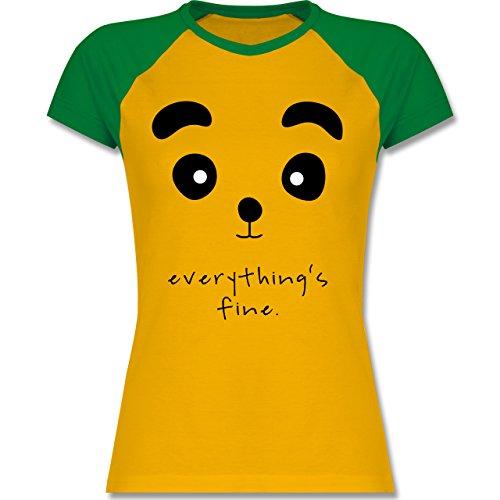 Shirtracer Eulen, Füchse & Co. - Panda Everything's Fine - Zweifarbiges Baseballshirt/Raglan T-Shirt für Damen Gelb/Grün