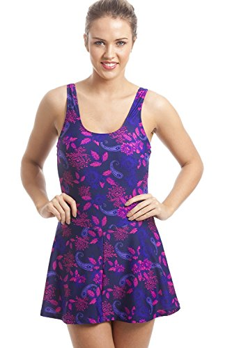 Badeanzug mit Rock - Blumenmuster - Violett & Rosa 50 -