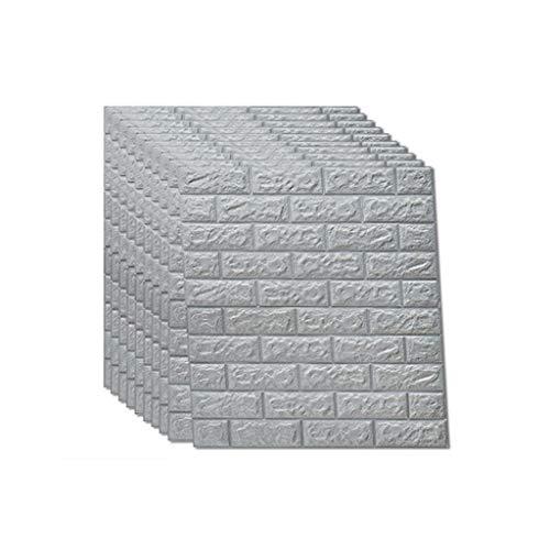 3D Wandpaneele grau Ziegel Tapete Peel and Stick Für Wohnzimmer Schlafzimmer Hintergrund Wanddekoration (10 Pack, Weiß 5,4 Quadratmeter) - Tapete Grau Ziegel